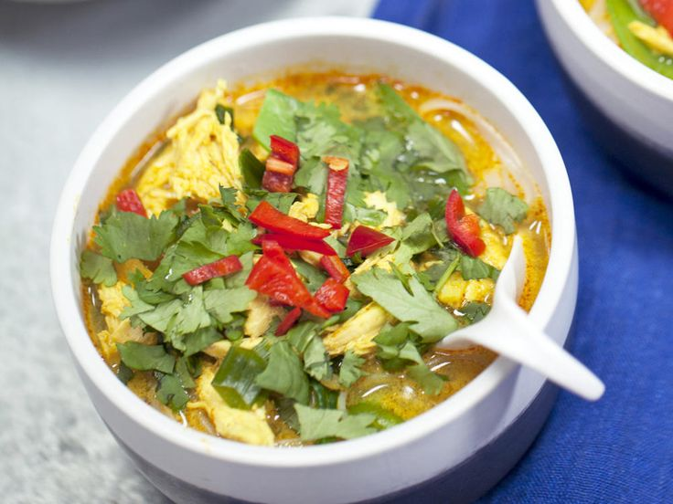 Coconut-Curry Chicken Soup   Snow peas, spinach, and chicken breast give this 5-star Coconut-Curry Chicken Soup flavor, texture, and a wealth of nutrients.