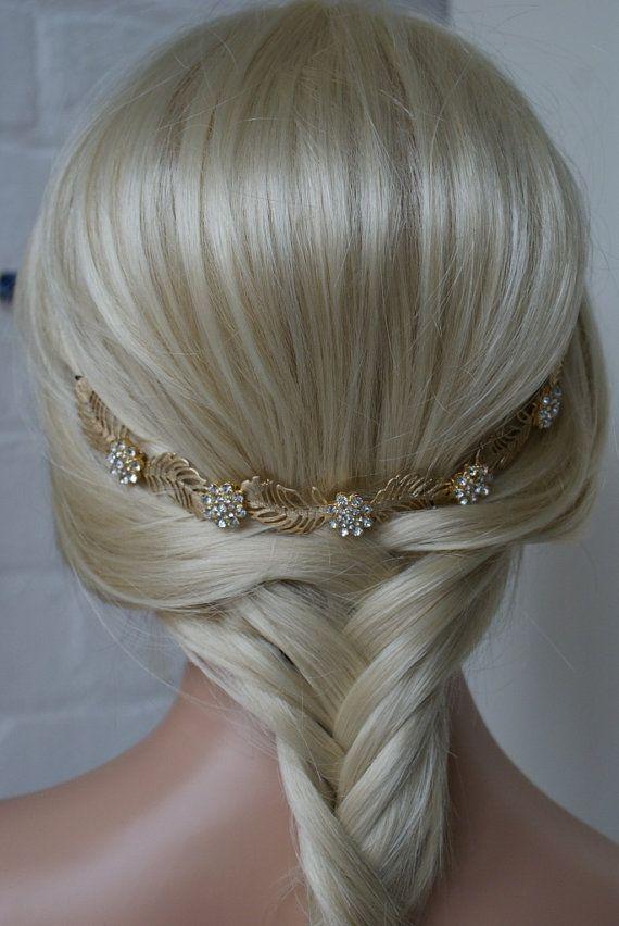 Bohemio casco boda pelo accesorio del pelo de por RoseRedRoseWhite