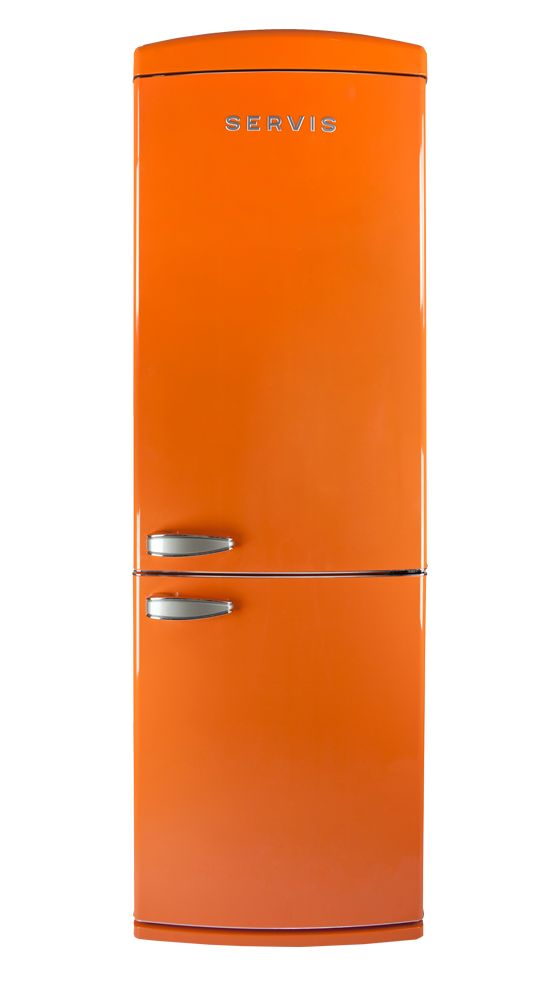 Servis retro fridge freezer in Tangerine Dream with A+ energy rating. British 1950's much-loved appliance brand Servis makes a comeback!