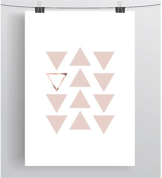 Pink and Copper Print Blush and Copper Art Blush by PrintAvenue