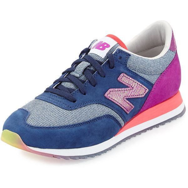 New Balance 620 Suede & Woven Trainer ($195) ❤ liked on Polyvore featuring shoes, sneakers, colorful shoes, suede shoes, new balance, round cap and lace up sneakers