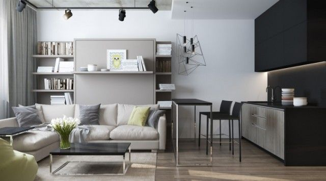 aménager-studio-table-basse-noir-laqué-parquet