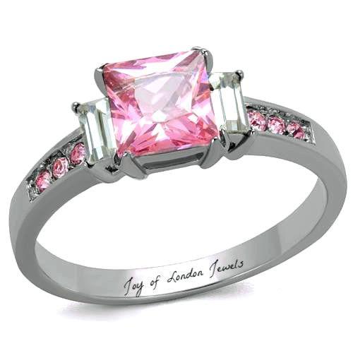 1.3CT Princess Cut Pink Sapphire Emerald Cut Russian Lab Diamond Ring