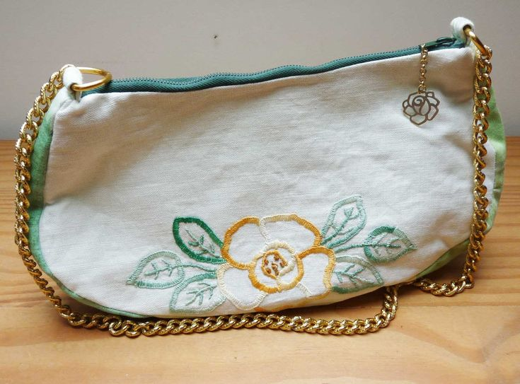 """Handbag handmade from a vintage, hand embroidered cotton mat, goldtone chain strap, lined, zip. Measures 10"""" x 5.5"""" x 2.5"""" (25 x 13 x 6 cm) by FoundInGrannysAttic on Etsy"""