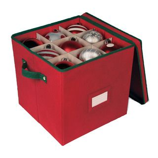 Christmas Ornament Storage   Red 64 Cell Ornament Storage Box With  Removable Lid   Overstock