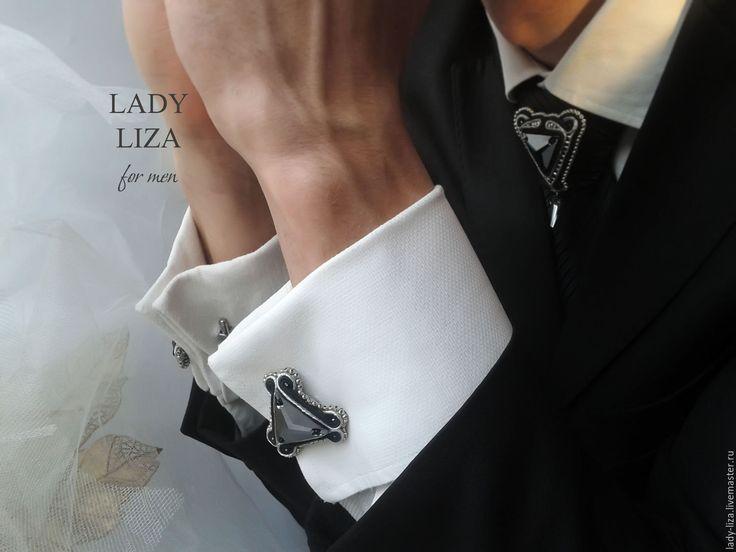 Купить Мужские запонки Эдуард Нержавеющая сталь Сутажная вышивка - серебряный, запонки, запонки купить