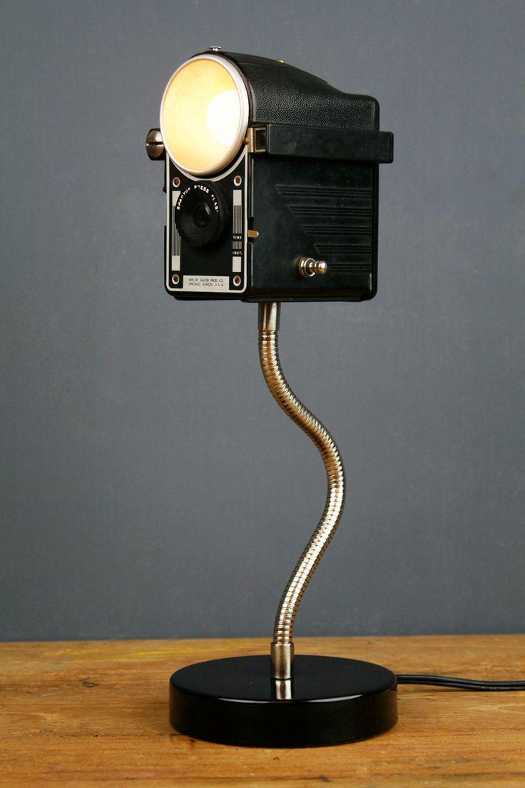 handmade upcycled vintage camera lamp