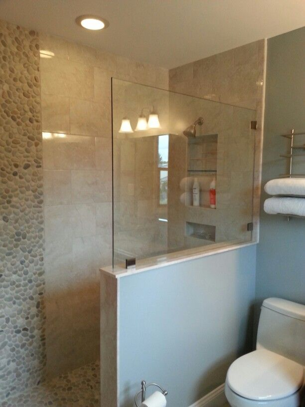 Doorless walk in shower complete bathroom remodel for Bathroom contractors