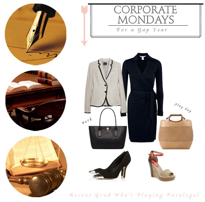 Perfect for work! I would LOVE a classic. DVF wrap dress. The kate spade bag is pretty cute too..