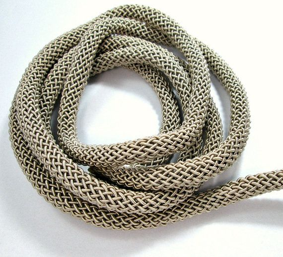 Braided Larousse silk cord 9mm beige thick cord 1m by OandN #rope #cord #silk #beige #thick #craftsupplies #jewelrysupplies #oandn