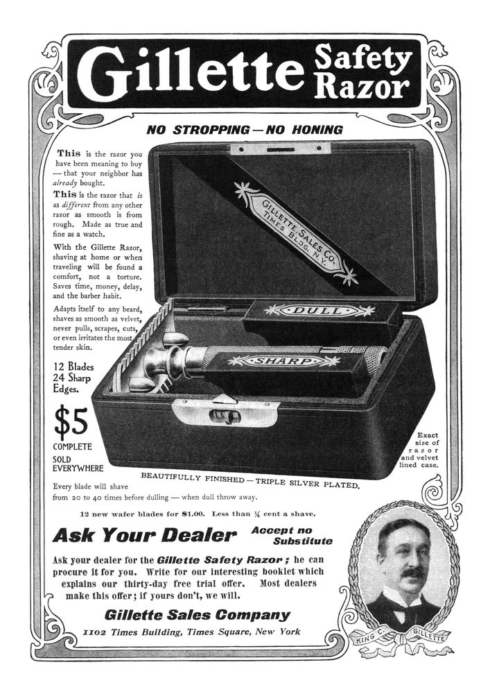 Vintage Gillette Double Ring safety razor magazine advert