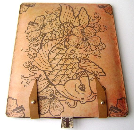 Rose Tattoo Dedicated To The Fam 2 Big Roses For The: Leather IPad / Kindle (2or3) Case- Koi And Hibiscus