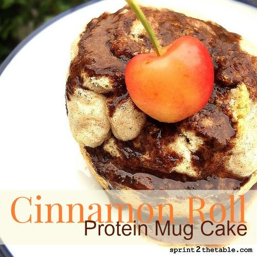 Cinnamon Roll Protein Mug Cake For the Cake: 1 scoop vanilla protein powder (28g) 1/4 tsp cinnamon 1/4 tsp no sodium baking powder 1/4 C unsweetened vanilla almond milk 1 egg white (46g) 2 T applesauce (no sugar added, can also use pumpkin puree) 1/2 tsp vanilla Cinnamon Glaze: 1 tsp cinnamon 1 tsp melted coconut butter, melted 5-6 drops vanilla liquid stevia