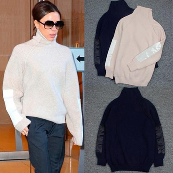 Victoria Beckham turtleneck plain knitted loose cardigan sweater