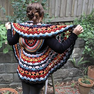 This gorgeous boho crochet vest is worked in the round as a circle for a unique look