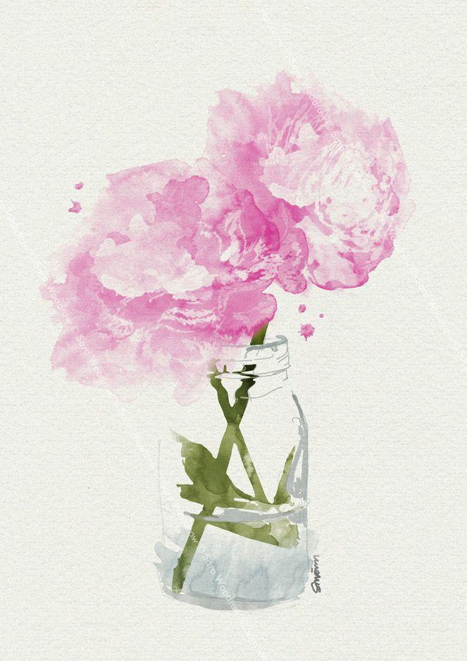 pink peonies in vase watercolour by sara woodrow