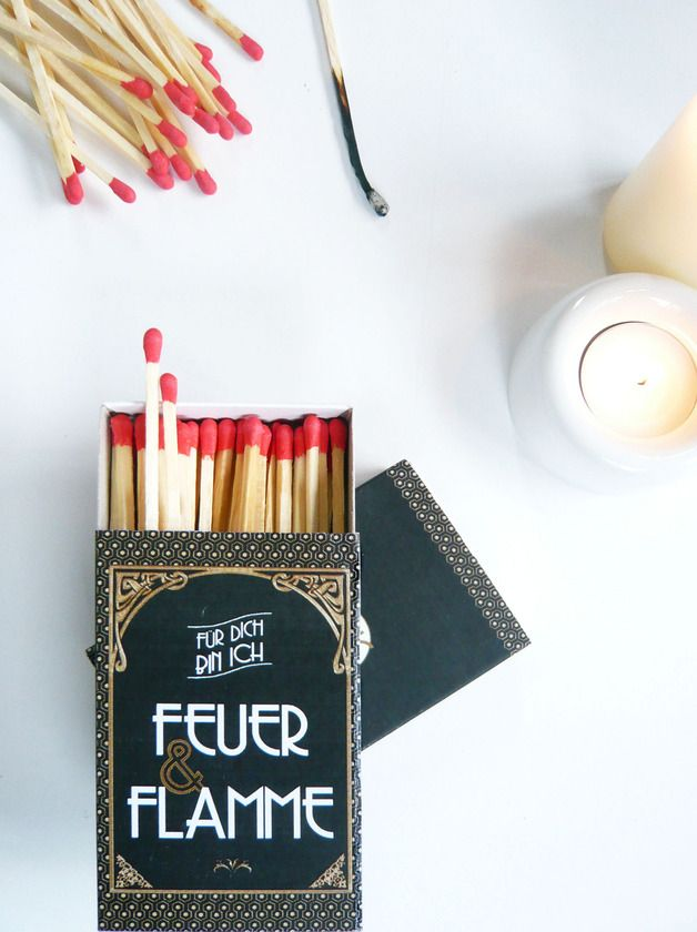 "Valentinstagsgeschenke: Kaminhölzer ""Feuer & Flamme"" / romantic matches by JuliaTongTong via DaWanda.com"