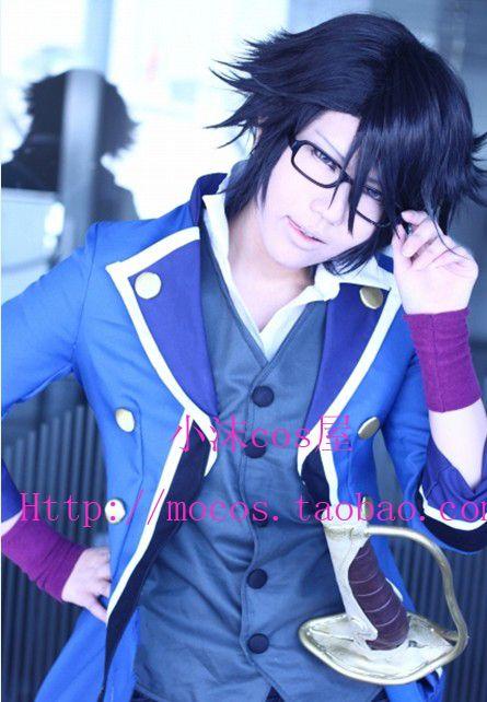 [Сяо мо] к Фусими Saruhiko Темно-синий краткое аниме косплей аниме парик короткие голубые волосы высокая температура провода + крышка + cap
