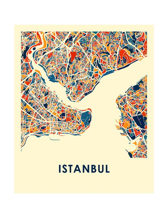 Istanbul Map Print Full Color Map Poster by iLikeMaps on Etsy