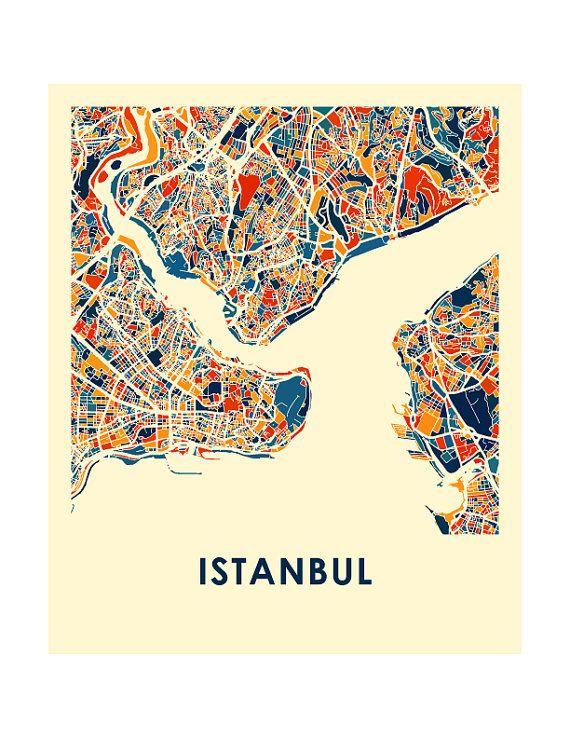 Istanbul Carte Estampe affiche carte polychrome par iLikeMaps