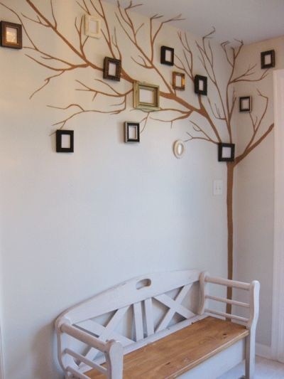 Photo Wall Art Displays -- Love this idea for a kids room. Might be cute to paint the frames green!: Ideas, Craft, Family Trees, Picture Frames, Family Photo, Families, Tree Wall