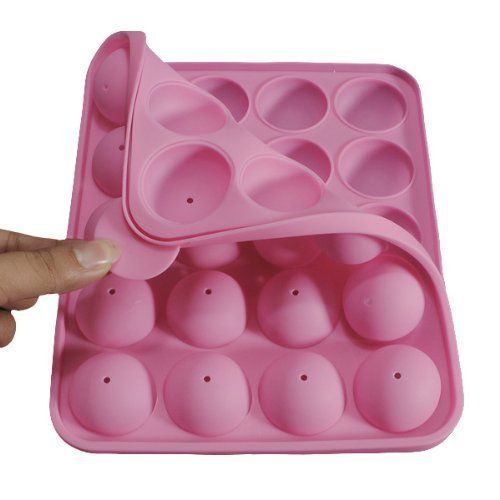 Rbenxia 20 Silicone Tray Pop Cake Stick Mould Lollipop Party Cupcake Baking Mold (Pink)