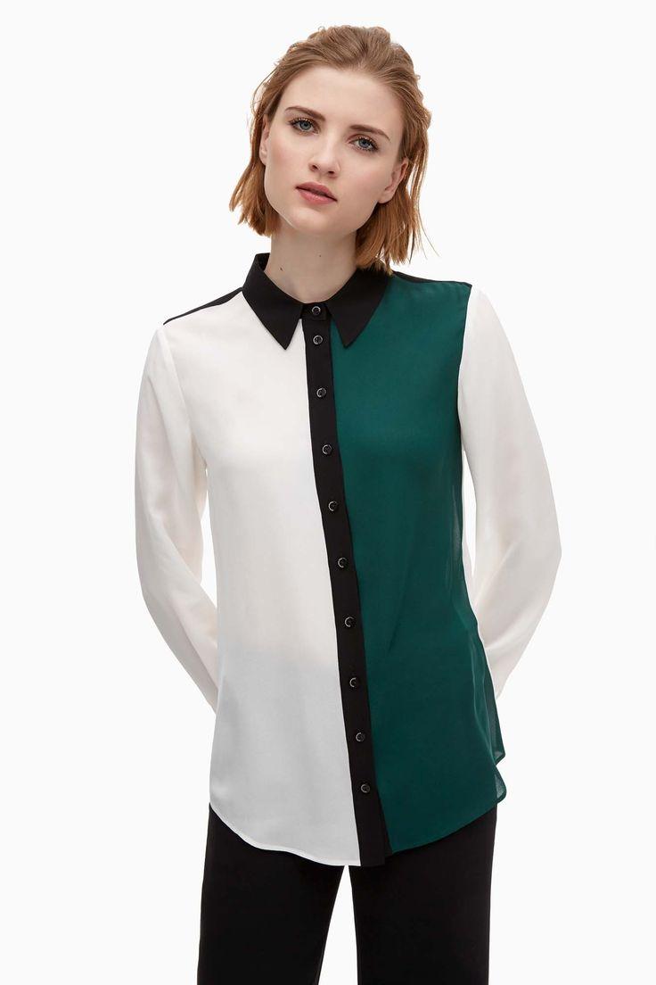Camisa de seda de estilo color block - camisas y blusas | Adolfo Dominguez shop online