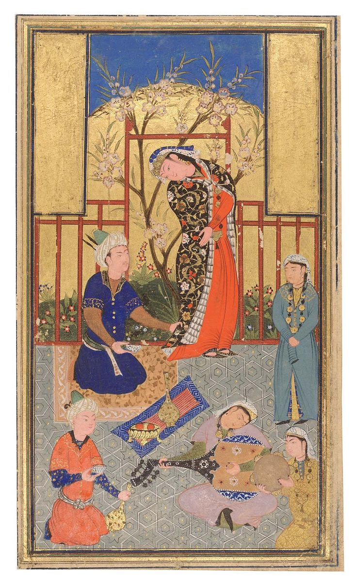 Small painting of a prince in a garden being entertained by musicians. Two panels of gold in upper corners, perhaps covering older imagery or text.