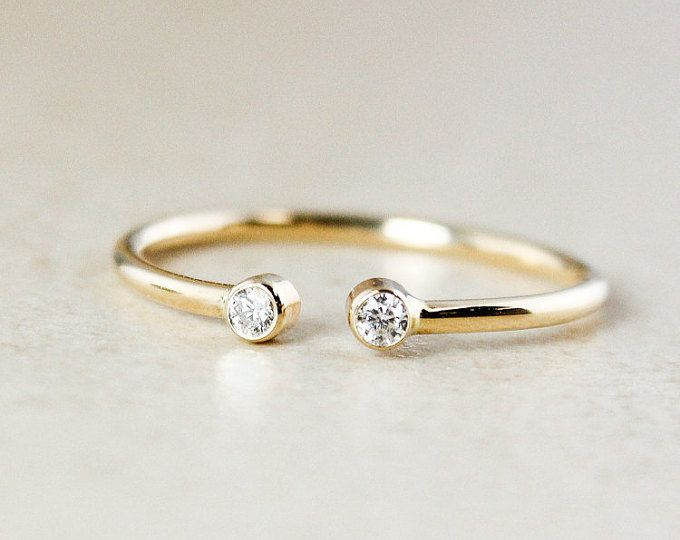 Diamond Dual Birthstone Ring - Solid 10Kt and 14Kt Yellow Gold - April Birthstone Ring