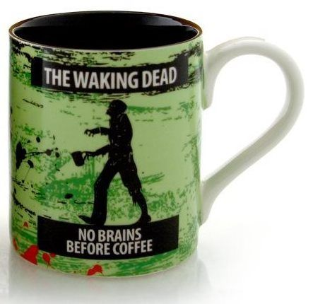 The Waking Dead - No Brains Before Coffee - zombie coffee mugs.