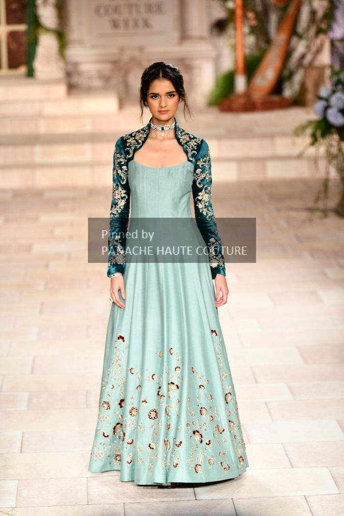 e83c40979cbe7 Blue Jacket Gown by Anju Modi from India Couture Week 2018. Contact us  through WhatsApp +61470219564 or email to info@panachehautecouture.com to  order or ...