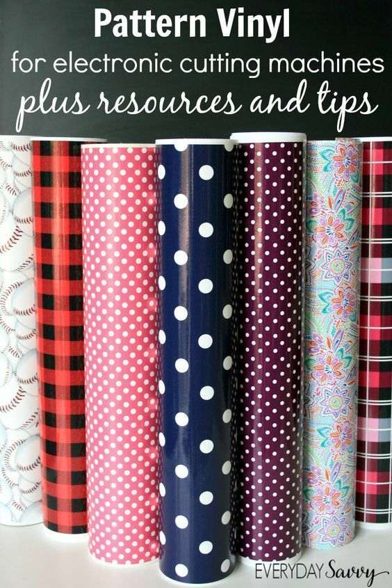 Pattern Vinyl for the Silhouette Cricut and More - Where to find the best printed craft vinyl sheets and supplies. Plus tips and tricks on how to use vinyl with electronic cutting machines. Fun prints like polka dots, stripes, florals, camos, anchors, pla