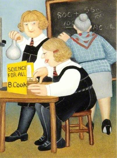 "Beryl Cook (British, 1926–2008) ""Self Portrait in Science Lesson at Kendrick School"""