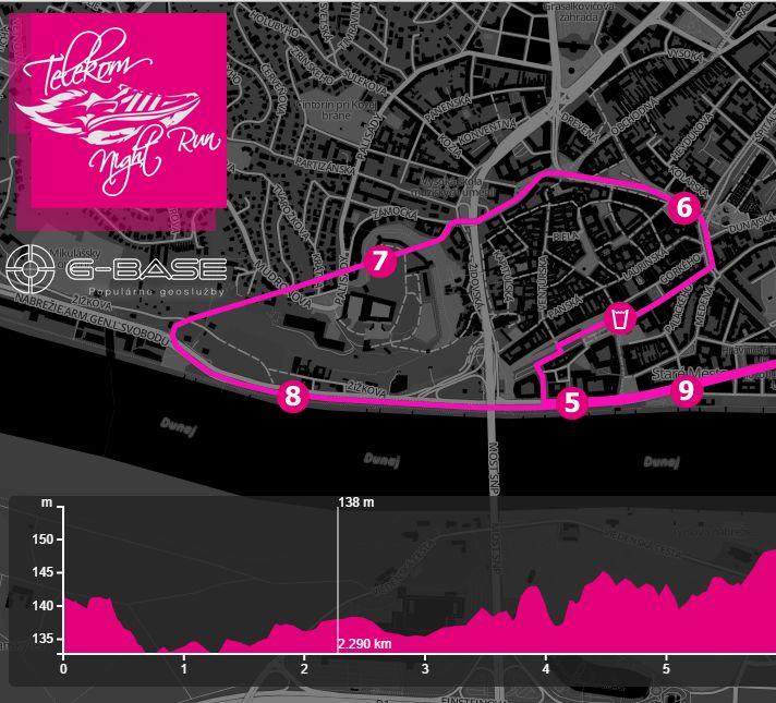 Pre 6. ročník nočného behu Bratislavou - Telekom Night Run 2014 sme v G-BASE pripravili mapu trate s interaktívnym výškovým profilom.