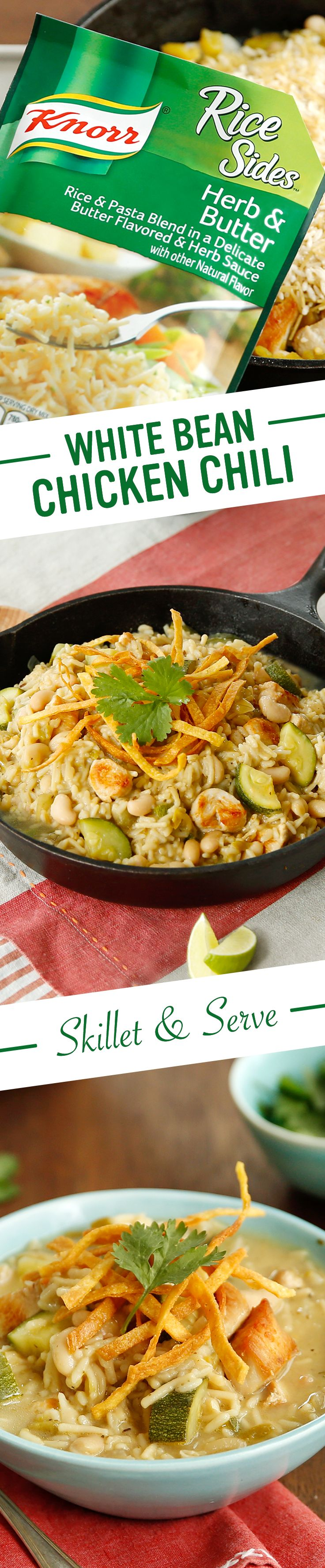 Here's an idea for sharing flavors of the Southwest w/ your family. Knorr's White Bean Chicken Chili includes creamy beans, fresh zucchini, & zesty chilies. (And it won't make your mouth as hot as the desert!) Follow this easy recipe: 1. Cook chicken. Stir in ground cumin 2. Add canned chilies to cannellini beans, simmer Knorr® Rice Sides™ - Herb & Butter, & mix zucchini w/ lime juice 3. Serve w/ lime wedges, chopped fresh cilantro, & tortilla strips/chips. Enjoy!