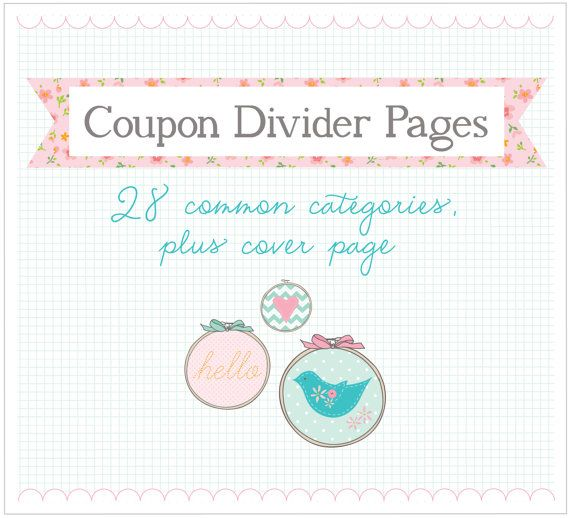 COUPON divider pages  Digital File Instant by amyjdelightful