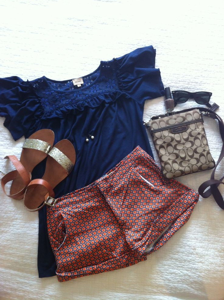 Auburn game day outfit! Shorts are from Judith March so cute!