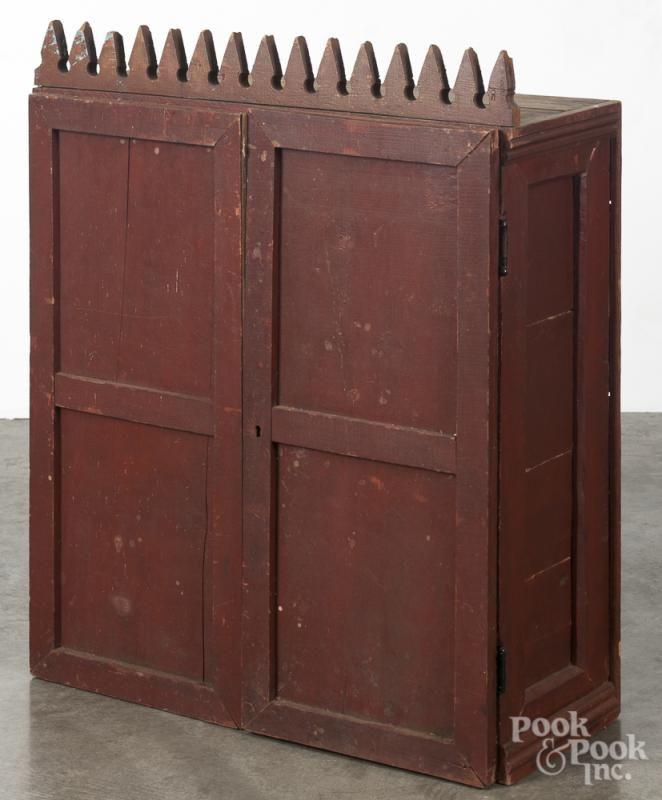 Primitive painted pine hanging cubby hole cabinet, 19th c., with a sawtooth  crest - 75 Best Hanging Cupboards Images On Pinterest Country Furniture