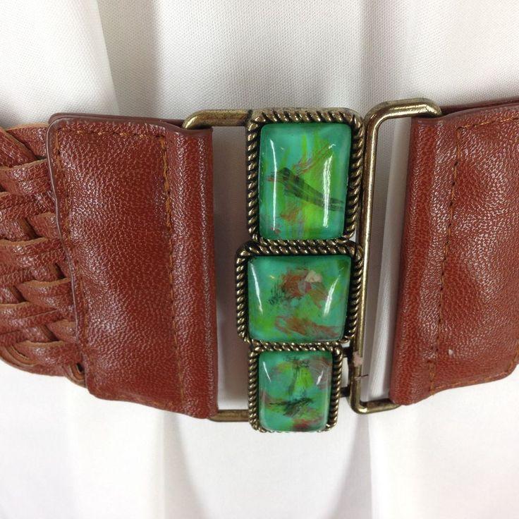 NY&Co Lg Brown Stretch Belt Braided Faux Leather XL Green Stone Buckle Cinch #NewYorkCompany #Cinchbelt