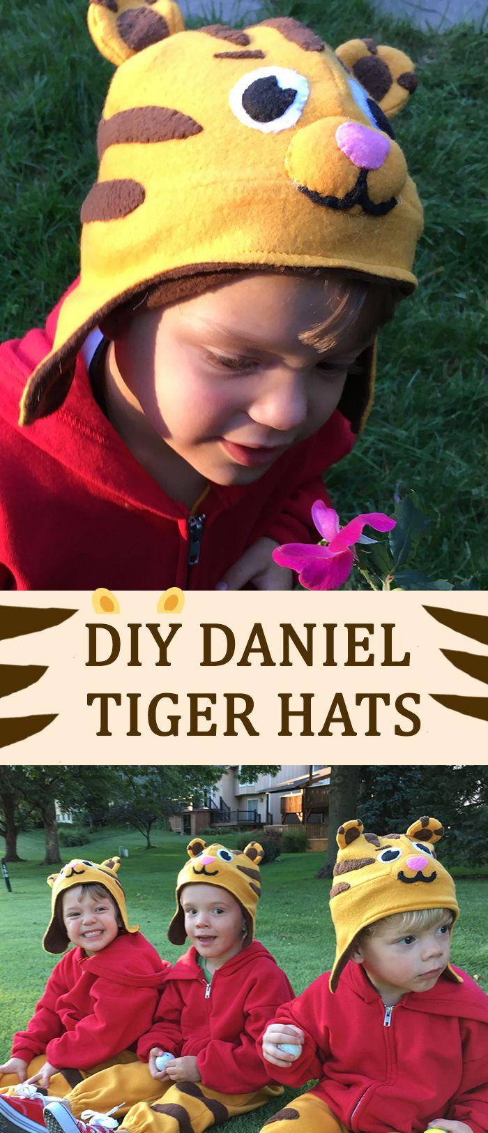 How  cute is this comfy, fleece Daniel Tiger Hat! It's easy to make, even if you don't have a ton of sewing experience. It looks like Daniel Tiger, so you won't have to bribe your child to wear it. And, paired with a red hoodie and matching gold pants, it tops off a darling costume! DIY tutorial here: http://www.ehow.com/how_2158020_fleece-hat.html?utm_source=pinterest.com&utm_medium=referral&utm_content=freestyle&utm_campaign=fanpage