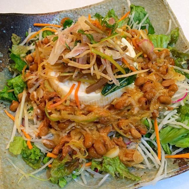 辛子醬油でいただきました。 - 21件のもぐもぐ - 広島でネバネバ納豆豆腐サラダ by yumenimishi101