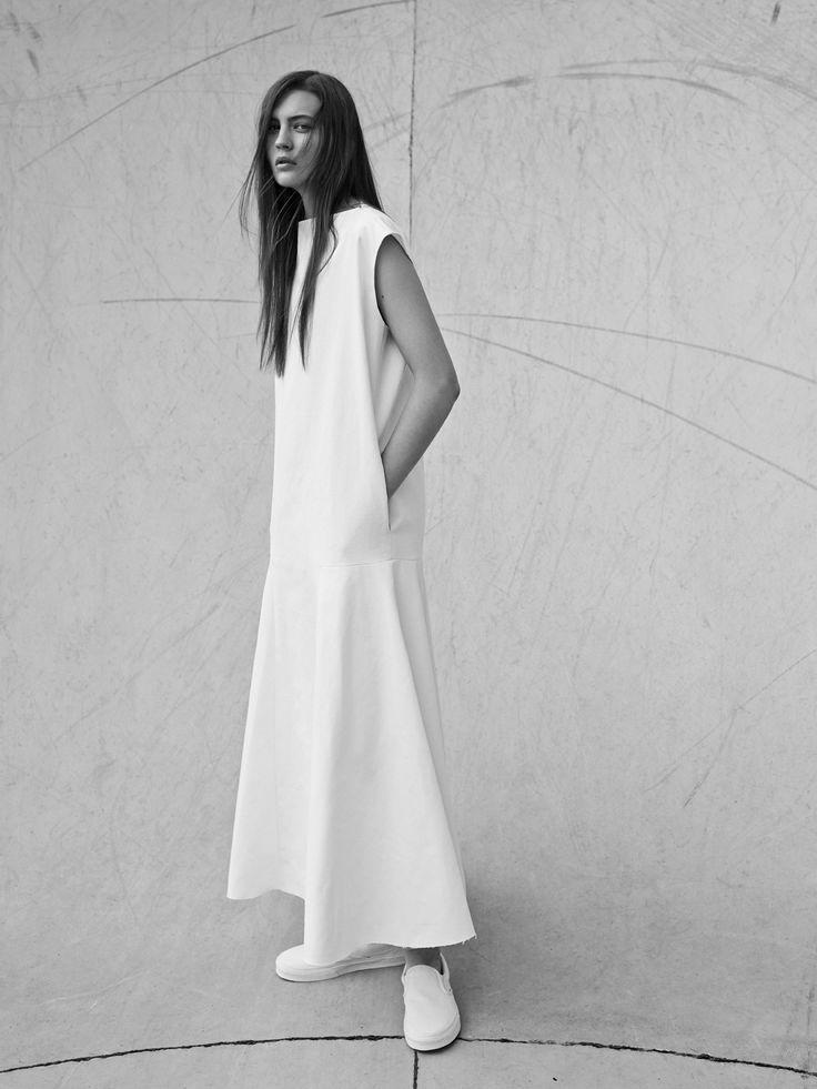 2nd .White Simplicity - long dress with drop-waist detail; minimalist fashion // Bassike