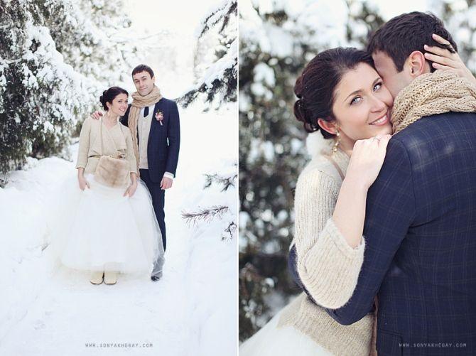 Отличная идея для свадебных образов зимой и ранней весной