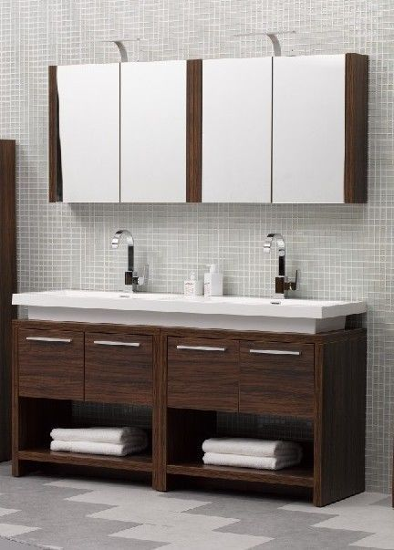 Twin Vanity Double Sink Designer Unit In Walnut Wall