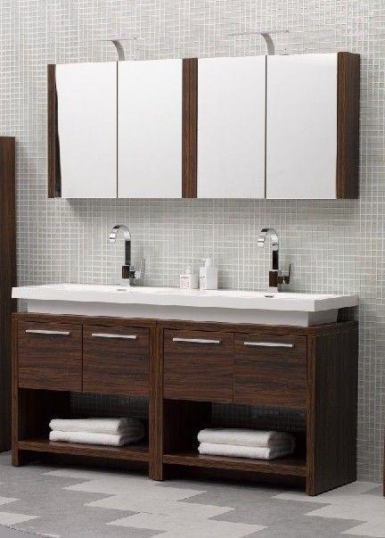 Twin vanity double sink designer unit in walnut wall mounted mirror bathroom pinterest for Bathroom double sink vanity units