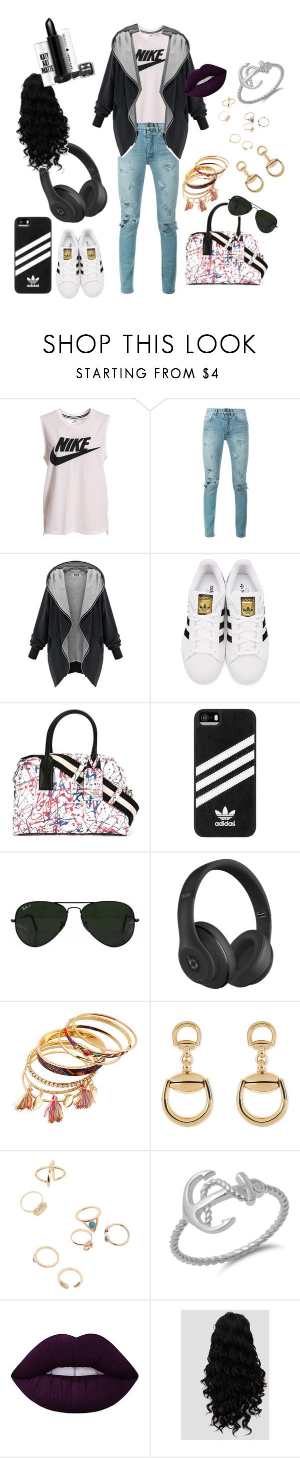 """Lip❤️"" by boombox14 ❤ liked on Polyvore featuring NIKE, Yves Saint Laurent, adidas Originals, Marc Jacobs, adidas, Ray-Ban, Beats by Dr. Dre, Gucci and Lime Crime"