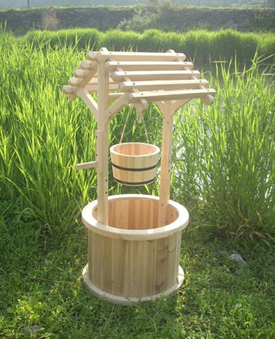 asian style wooden planters