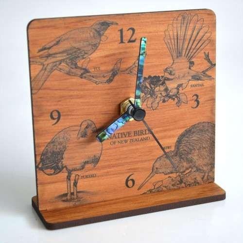 New Zealand Rimu Desk Clock - Native Birds