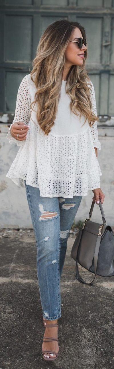 We can't stop clutching our hearts over this dolly tunic top with a flared silhouette and ice white hue. Loveliness Attack Eyelet Embroidered Dolly Tunic featured by The Teacher Diva Blog