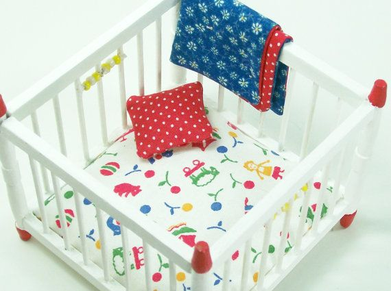 112 Dollhouse Miniature Furniture Playpen Red White by dalesdreams